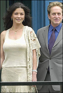 Catherine Zeta Jones and Michael Douglas arrive at the hospital