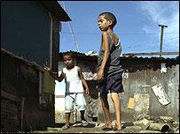 Children in a derelict area of Rio de Janeiro