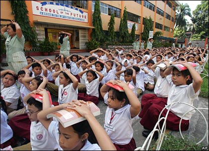 Earthquake Drill Procedures in School http://news.bbc.co.uk/2/hi/in_pictures/5098786.stm