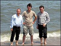 BBC's correspondent Steve Rosenberg, cameraman Jonathon Hughes and producer Artyom Liss