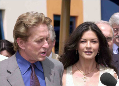 Catherine Zeta Jones and Michael Douglas at the children's hospital