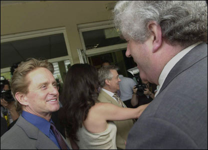 Michael Douglas pictured with First Minister Rhodri Morgan