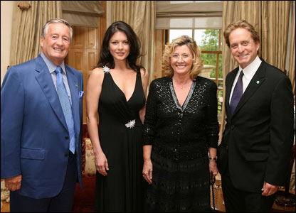 Sir Stanley Thomas OBE, Catherine Zeta Jones, Lady Thomas and Michael Douglas,