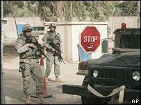 Entrada a la embajada de EE.UU. en Bagdad
