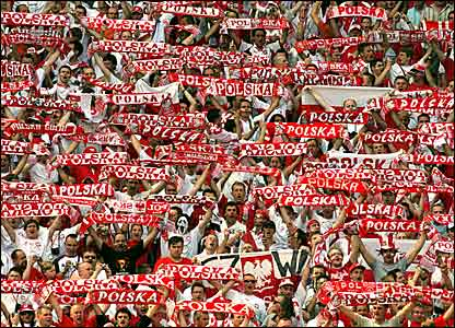 Poland supporters at the Hanover Stadium