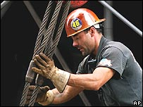 Man working with steel cables