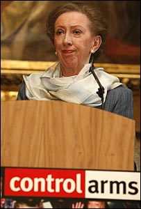 Margaret Beckett at a conference on arms control