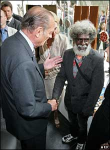 French President Jacques Chirac greets Aboriginal John Mawumdjul