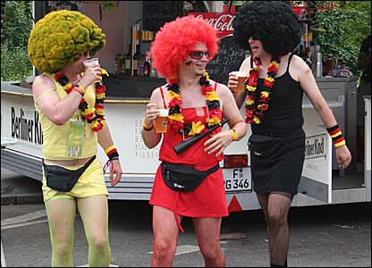 Oddly dressed German fans ahead of Ecuador game