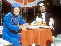 Tony Blackburn and Noel Edmonds on Top of the Pops