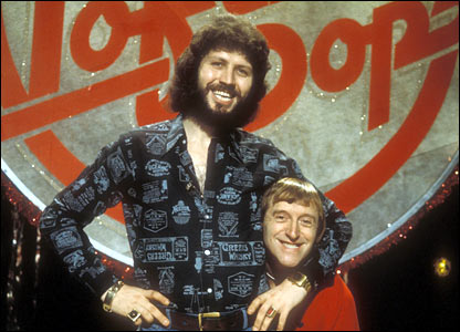 Dave Lee Travis and Sir Jimmy Savile, pictured in 1976.
