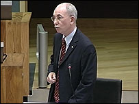 Dr Brian Gibbons AM in the Senedd chamber