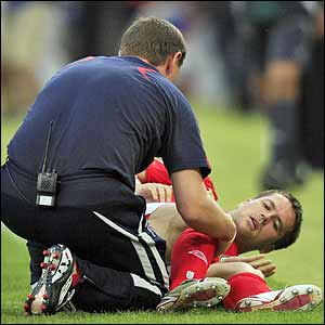 Michael Owen receives treatment