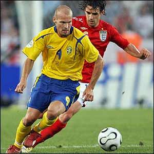 Sweden's Freddie Ljungberg is shadowed by England's Owen Hargreaves