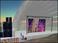 Escenario virtual en concierto en línea de Radio 1