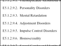 "Close up of Instruction 1332.38, which classes homosexuality is a ""mental disorder"" (Pentagon document)"