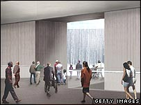 Impression of what the underground hall at the World Trade Center memorial might look like