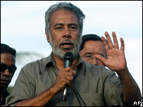 President Xanana Gusmao, seen here talking to protesters in Dili on 6 June 2006