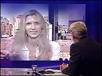 Ann Coulter, being interviewed on Newsnight