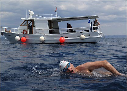 David is one step nearer to his goal after completing a gruelling eight hour qualifying swim in Croatia