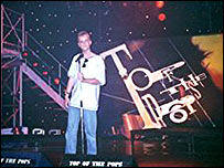 Paul Crossley on the Top of the Pops stage