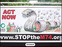 Stop the M74 billboard