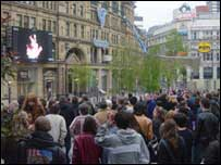 Big screen in Manchester's Exchange Square