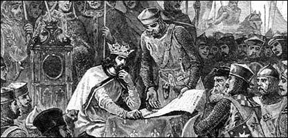 Dibujo del Rey Jorge de Inglaterra firmando la Carta Magna el 15 de junio de 1215.