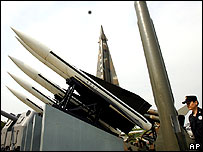 Models of North Korean Scud missiles on display in South Korea