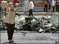 Scene of a car bombing in Baghdad