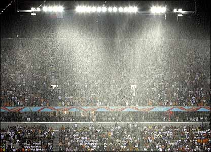 The rain pours into the stadium