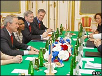 Delegations at meeting table