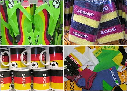 Clockwise from top left: flip-flops, wristbands, socks; mugs