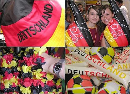 Clockwise from top left: Hat; Sarah Melilli and Alex Guiso with big inflatable hands; Deutschland balls; leis.