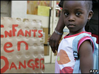 Mariama Kagny, 5 attends a protest with parents and students, 16 June 2006 in front of a pre-school in Paris