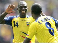 Segundo Castillo (left) and Edison Mendez pull the strings for Ecuador