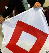 Red Crystal flag for use by emergency workers