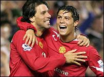 Ruud van Nistelrooy and Cristiano Ronaldo