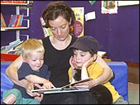 Mother and children in library
