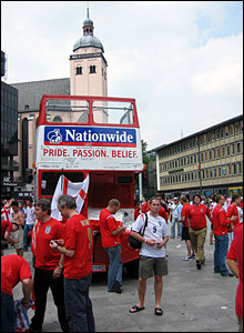 England fans gather around official bus