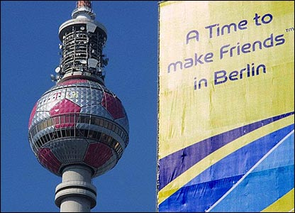 A giant banner towers over Berlin