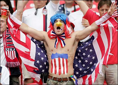 A patriotic USA fan shows his support for his team