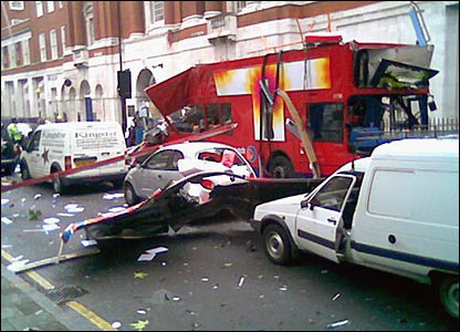Martin Bailey's daughter's car next to the exploded bus in Tavistock Square