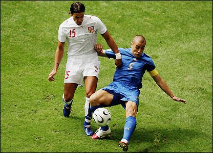 Fabio Cannavaro tackles Milan Baros