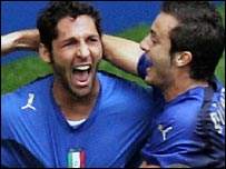 Marco Materazzi celebrates his goal