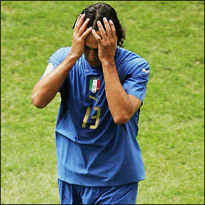 Alessandro Nesta leaves the pitch