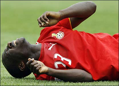 Haminu Dramani lies prostrate on the ground