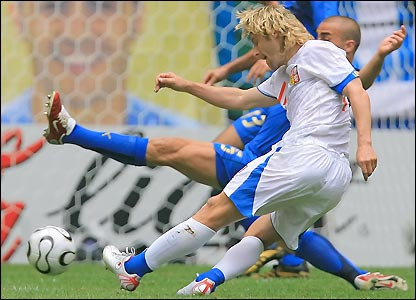 Pavel Nedved has another shot blocked