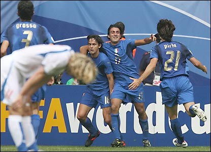 Italy celebrate their second goal