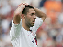 USA's Clint Dempsey shows his anguish